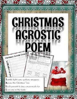 Christmas Writing Activity: Acrostic Poem