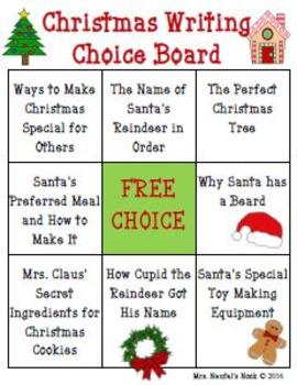 Christmas Writing Freebie - Choice Board