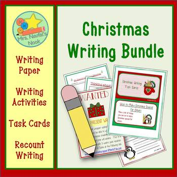 Christmas Writing Bundle - Interactive Folder, Recount Writing, Task Cards