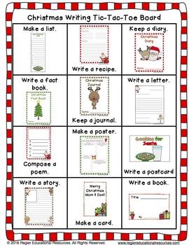 Christmas Writing Center Activities