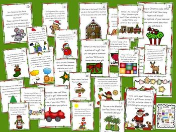 Christmas Writing Center Prompts for Kindergarten through Second Grade