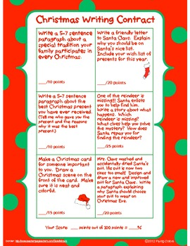 Christmas Contract.Christmas Writing Contract 6 Student Activites