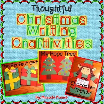 Christmas Writing Craftivities Bundle- Elf, Tree, and Gift