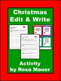 Christmas Writing Activities Edit and Write Task Cards and