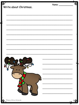 Christmas Writing Paper: 2 Line Sizes, Color, B/W