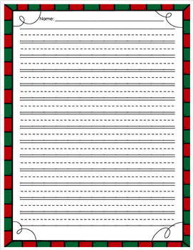 Christmas Writing Paper- Dashed Lines
