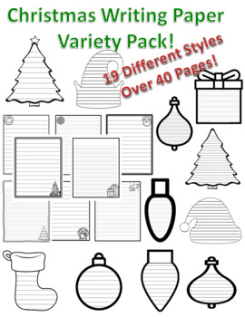 Christmas Writing Paper Lined Christmas Paper Lined Christmas Paper Writing Pack