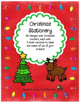 Christmas Writing Paper- Lined Stationary with Borders