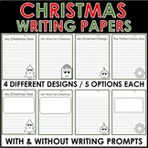 Christmas Writing Papers Lined with Prompts Kindergarten or 1st Grade