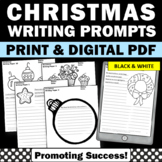 Christmas Writing Paper Black and White for Christmas Literacy Center Activities