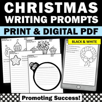 Christmas Creative Writing Papers Black & White 25 Literac