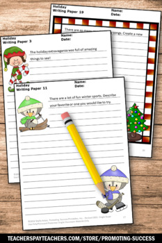 Christmas Writing Papers Picture Prompts Literacy Centers ESL Special Education