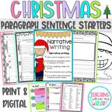 Christmas Writing Paragraph Sentence Starters Distance Lea