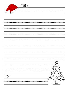 Christmas Writing / Poem Illustrated page : with Lined Handwriting Paper