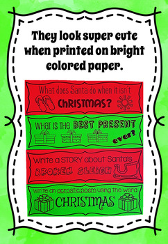 Christmas Writing Prompt Task Cards - Black and White Ink Friendly