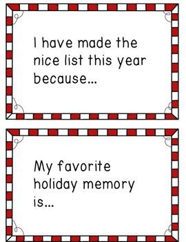 Christmas Writing Prompt Task Cards | First Grade | NO-PREP Literacy Centers
