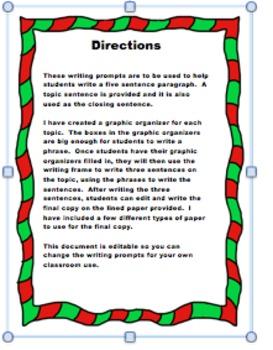 Christmas Writing Prompts - Editable