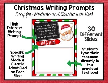 Christmas Writing Prompts - Interactive Digital Google Version