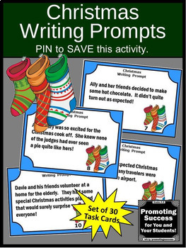 Christmas Writing Prompts Task Cards, Christmas Literacy Center Activities
