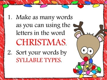 Christmas Writing Prompts & Word Work Task Cards