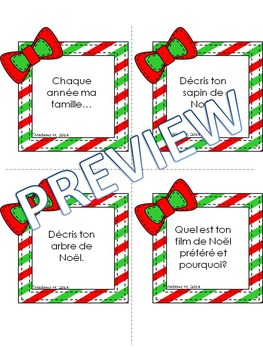 Christmas Speaking and Writing Prompts en Français!