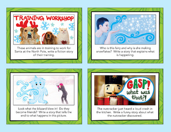 Winter Holidays - Christmas Writing Prompts w/a Snapchat Theme - Task Cards