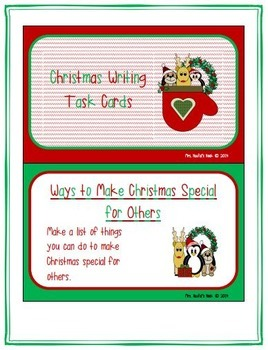 Christmas Writing Task Cards - Prompts, Task Cards and Specialty Writing Paper