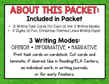Christmas Writing Task Cards - Common Core - Opinion, Informative, Narrative