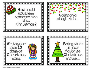 Christmas Writing Task Cards for Writing Centers- 12 Days of Christmas