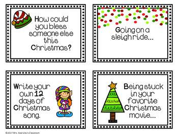 Christmas Writing Task Cards for Writing Centers- 12 Days of Christmas