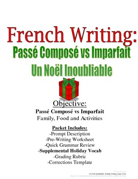 Christmas Writing for French (Passe Compose and Imparfait): Rubric Included