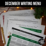 Christmas Writing for Teens: Choice Menu with 40+ Prompts