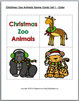 Zoo Animals Memory / Concentration Game - Christmas Activity - Winter Activity