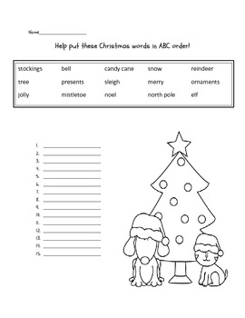 Christmas abc order FREEBIE