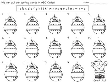 "Christmas ""abc order"" graphic organizer (freebie)"
