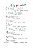 Christmas acrostic poem and activity page
