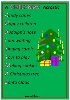 Poems About Christmas.Christmas Acrostic Poems And Templates By Norah Colvin Tpt