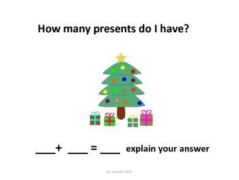 Christmas addition word problems koa1