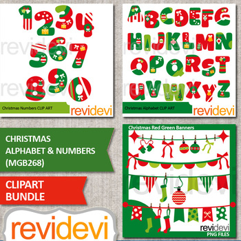 Christmas alphabet and numbers clip art bundle
