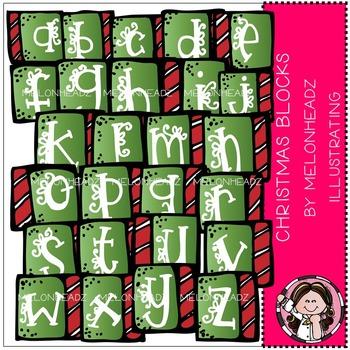 Christmas alphabet blocks clip art- by Melonheadz
