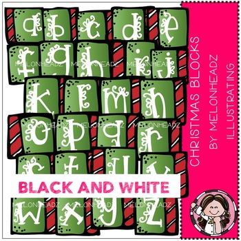 Melonheadz: Christmas alphabet blocks clip art - BLACK AND WHITE
