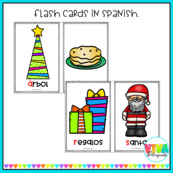 Christmas alphabet flashcards in Spanish