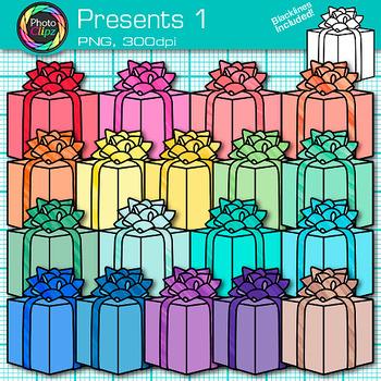 Christmas Present Clip Art {Rainbow Birthday Presents for
