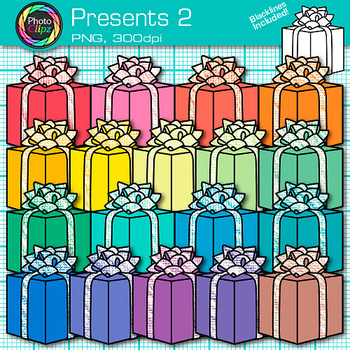 Christmas Present Clip Art {Rainbow Birthday Presents for Classroom Resources} 2