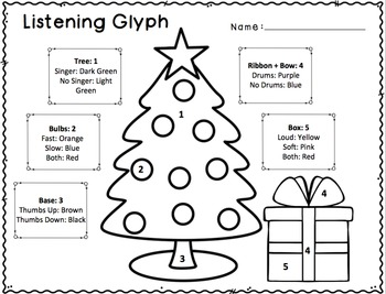 Christmas and Chanukah Listening Glyphs for Elementary Music Classroom
