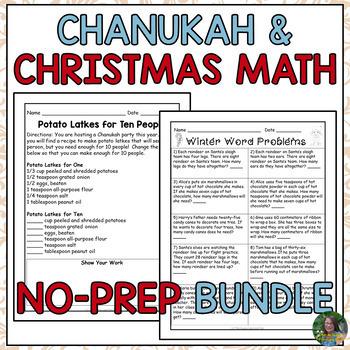 Christmas and Chanukah Math Activities Bundle