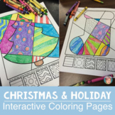 Interactive Christmas Coloring Pages + Writing (w/ Hanukka