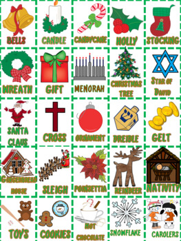 Christmas and Hanukkah Bingo