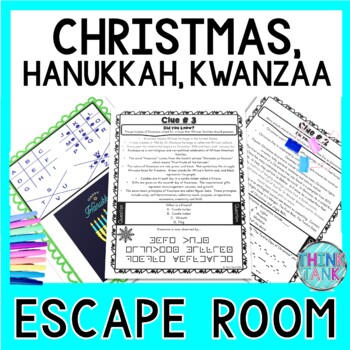Christmas and Hanukkah Holiday ESCAPE ROOM - December / Winter /Chanukah