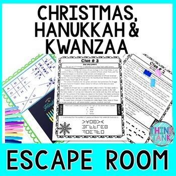 Christmas and Hanukkah Holiday ESCAPE ROOM - December - Winter - Chanukah
